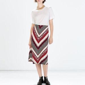 Zara Wool Midi Ethnic A-line Tribal Skirt